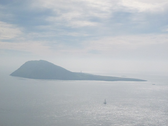 Bardsey Island with sailing boat
