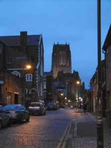 The Anglican cathedral at the other end of Hope street but seen from a classic old cobbled city centre street