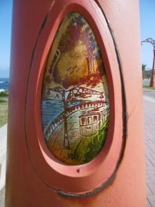Each lampost has these embedded pictures - this of the tram