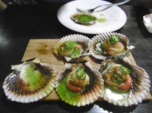 Scallops with Padron peppers (not spicy hot)