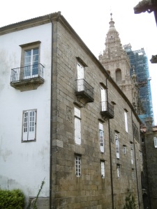 View from window on a grey day in Santiago de Compostela