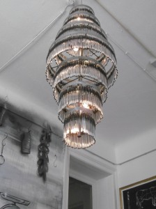 Under this chandelier made of ...