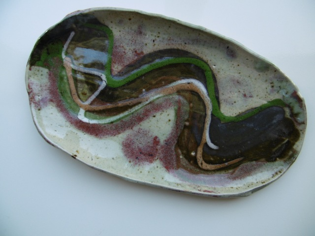 A wonky platter with a beautiful glaze