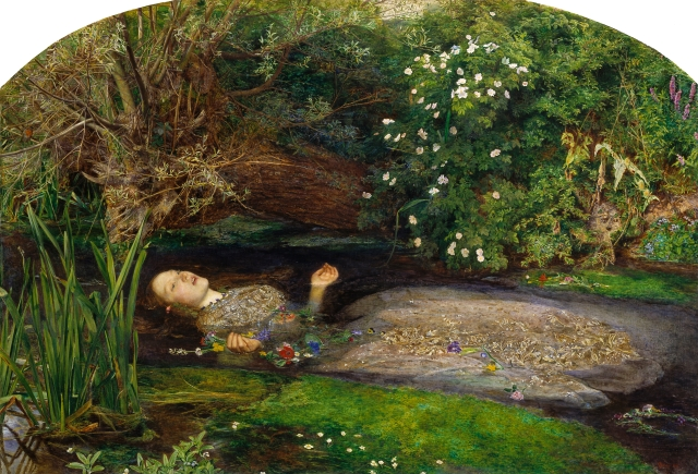 Ophelia, by Sir John Everett Millais, is in Tate Britain [file Google Art Project]