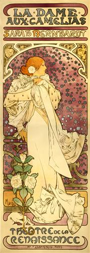 Alphonse Mucha poster, for Sarah Bernhardt as La Dame aux Camellias