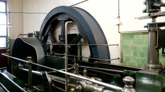 A still from a video of the Peace steam engine in motion