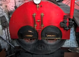 Lancashire boiler, one of two, made near Manchetser and looking suitably angry, methinks