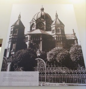 An old photograph of the synagogue that was destroyed by fire in 1938, in an exhibition in the White Stork Synagogue