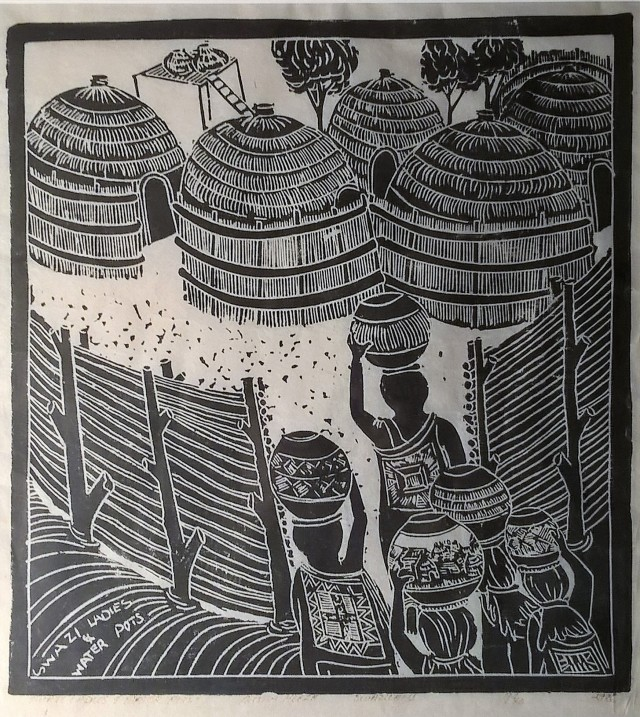 A print by a man called Austin, bought from the shop of a dear and sadly deceased friend in Malkerns Swaziland, showing Swazi women and typical Swazi huts - but no cast iron cauldrons, sorry
